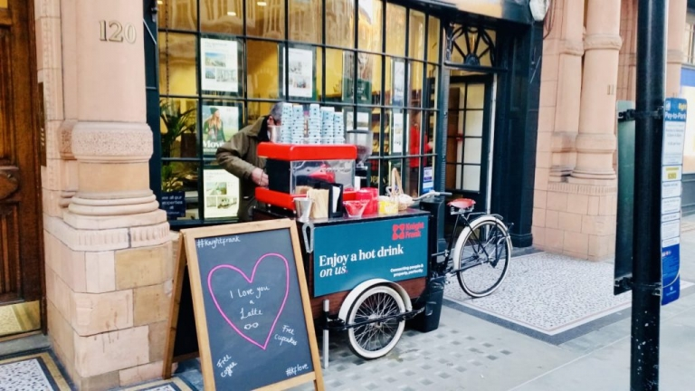 mobile coffee cart bike and bar hire in London and uk