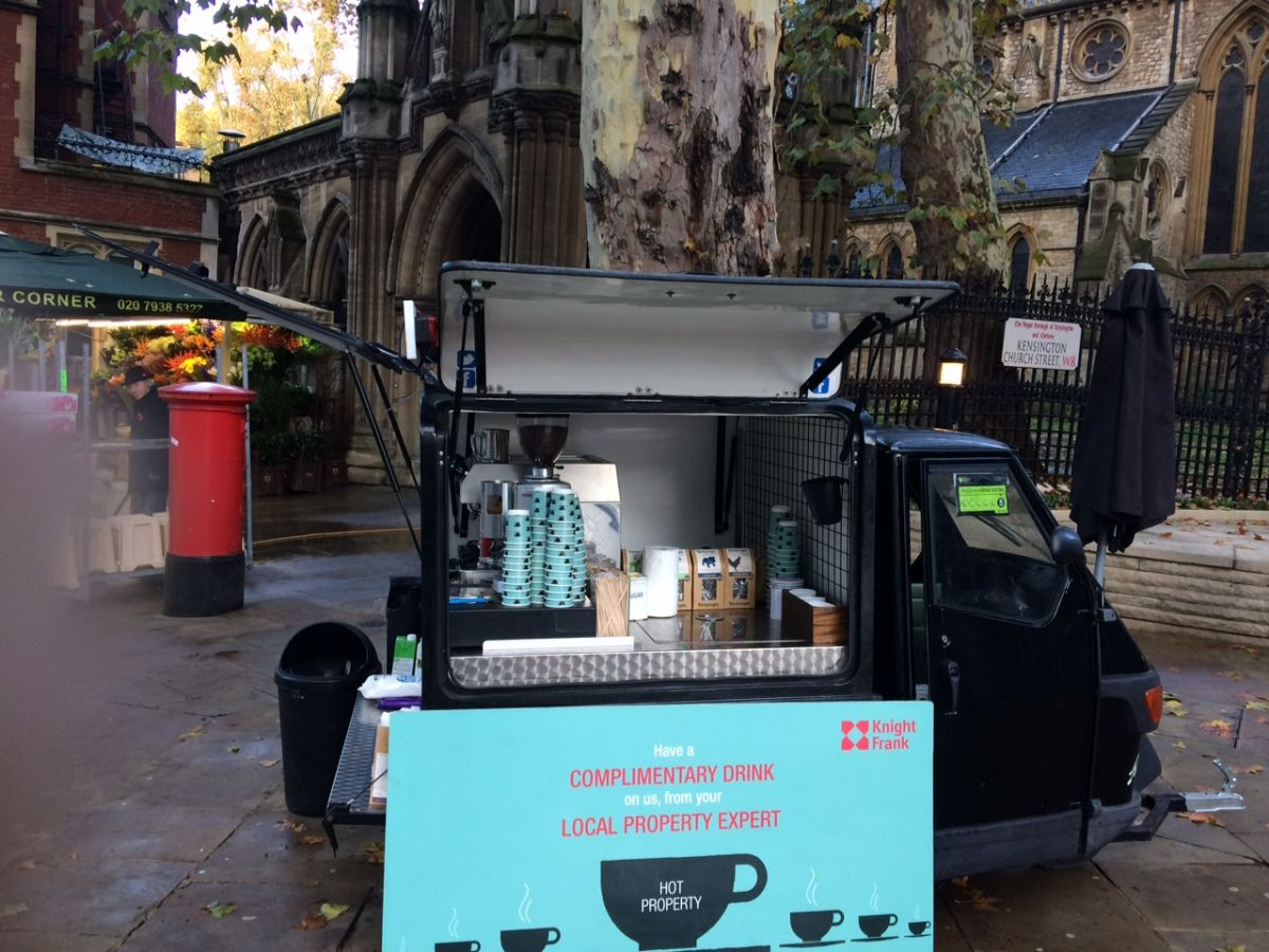 Piaggio ape mobile coffee van and cart hire service london and uk